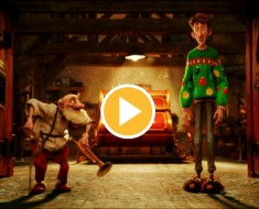 Grandsanta (voiced by Bill Nighy) and Arthur (voiced by James McAvoy ) in ARTHUR CHRISTMAS, an animated film produced by Aardman Animations for Sony Pictures Animation.